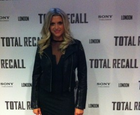 Total Recall premiere in Motel body con & Topshop biker jacket